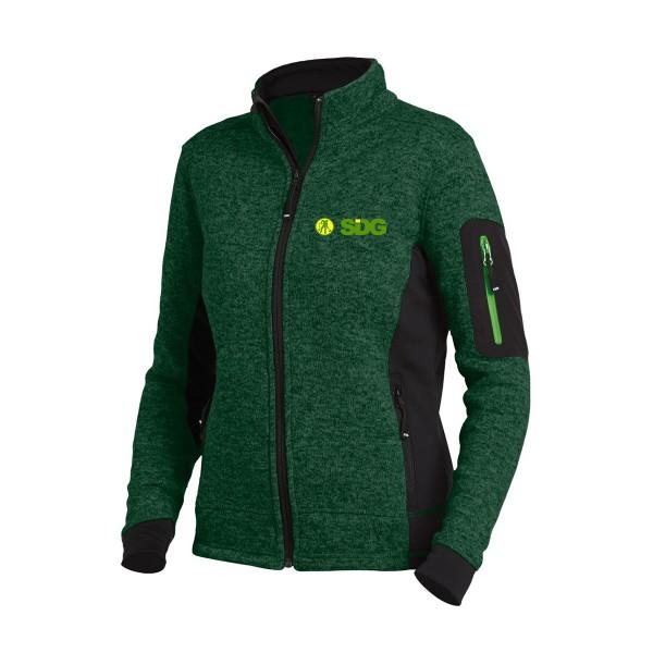 FHB MARIEKE Strick-Fleece-Jacke Damen grün-schwarz