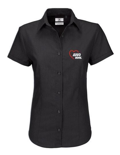 Oxford Shirt Short Sleeve Damen black