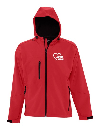 Hooded Softshell Jacket Replay Unisex pepper red